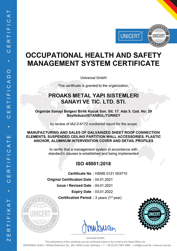 Occupational Health Safety Management System Certificate